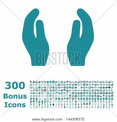 Care Hands icon with 300 bonus icons. Vector illustration style is flat iconic bicolor symbols, soft blue colors, white background.