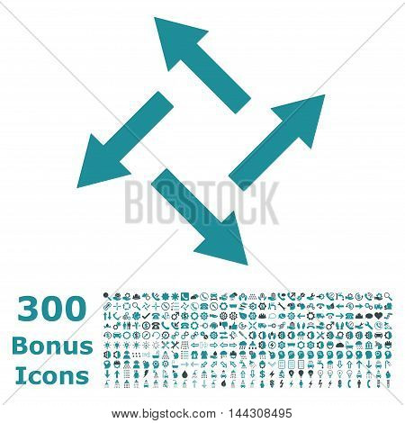 Centrifugal Arrows icon with 300 bonus icons. Vector illustration style is flat iconic bicolor symbols, soft blue colors, white background.