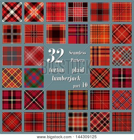 Set tartan seamless pattern in red and burgundy colors. Lumberjack flannel shirt inspired. Seamless tartan tiles. Trendy hipster style backgrounds. Suitable for decorative paper fashion design home and handmade crafts.
