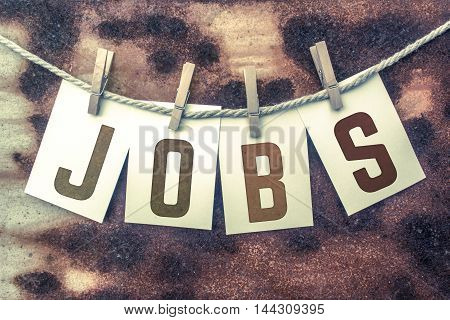 Jobs Concept Pinned Stamped Cards On Twine Theme