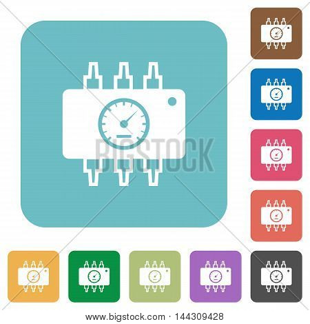 Flat hardware diagnostic icons on rounded square color backgrounds.