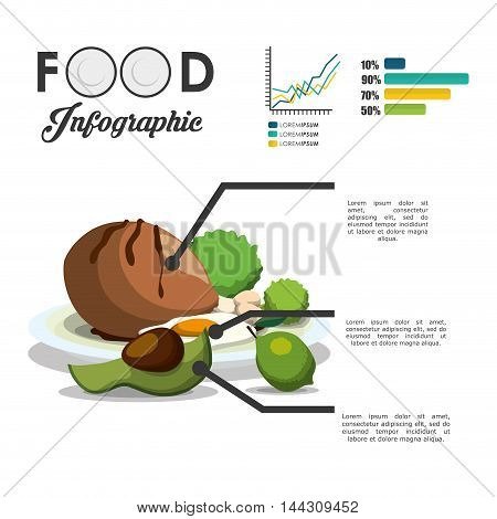 chicken avocado lemon egg protein healthy and organic food nutrition lifestyle icon set. Colorful and flat design. Vector illustration