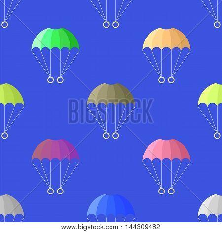 Parachute Seamless Pattern on Blue Sky. Extreme Sport Background.