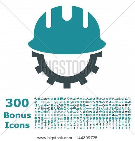 Development Hardhat icon with 300 bonus icons. Vector illustration style is flat iconic bicolor symbols, soft blue colors, white background.