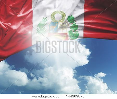 Peru flag on a beautiful day