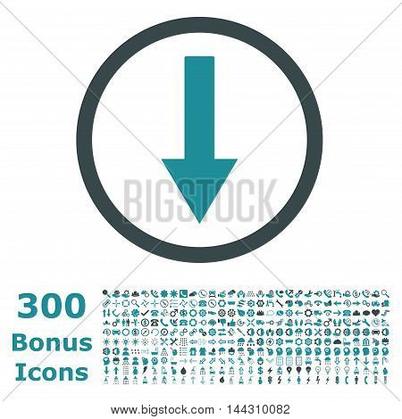 Down Rounded Arrow icon with 300 bonus icons. Vector illustration style is flat iconic bicolor symbols, soft blue colors, white background.