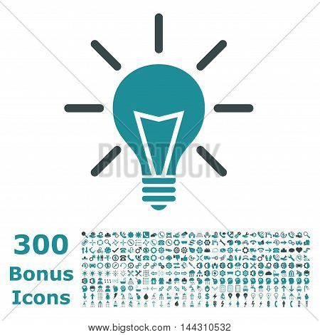 Electric Light icon with 300 bonus icons. Vector illustration style is flat iconic bicolor symbols, soft blue colors, white background.