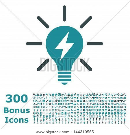 Electric Light Bulb icon with 300 bonus icons. Vector illustration style is flat iconic bicolor symbols, soft blue colors, white background.
