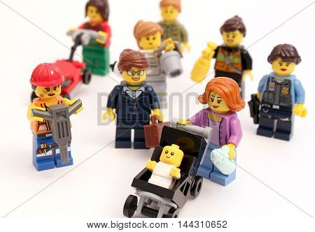 Colorado, USA - August 26, 2016: Studio shot of LEGO minifigure women doing a variety of jobs including: mom, policewoman, construction, business, etc.