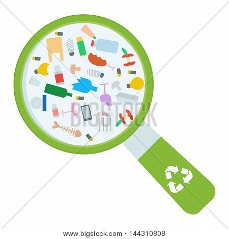 Vector recycle image with trash under magnifying glass. Waste sorting problem. Impact of pollution on the ecology of the planet. Flat cartoon illustration. Objects isolated on a white background.