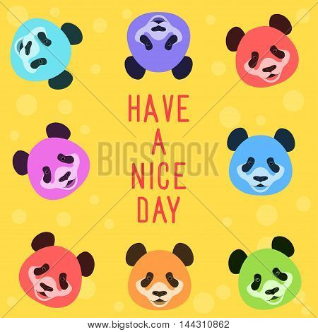 Panda bear card. Funny card template. Cartoon panda bear. Have a nice day. Childish card. Funny panda bear. Isolated panda. Panda bear on yellow. Cartoon card. Abstract panda card. Happy panda. Panda.