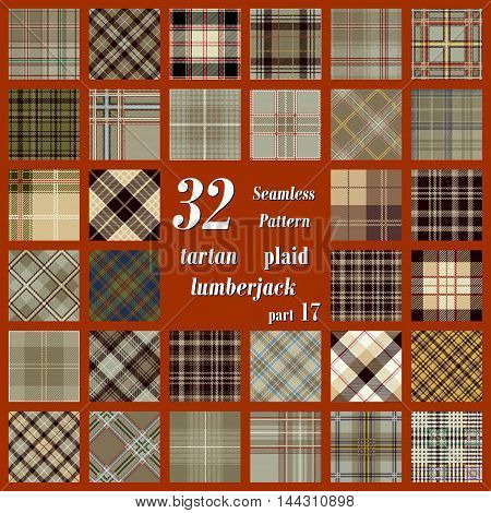 Set tartan seamless pattern in beige yellow and gold colors. Lumberjack flannel shirt inspired. Seamless tartan tiles. Trendy hipster style backgrounds. Suitable for decorative paper fashion design home and handmade crafts.