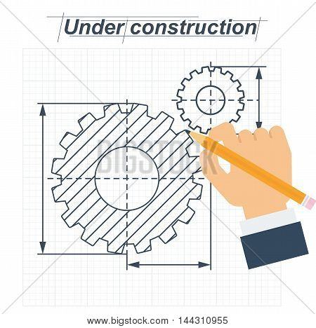 Vector construction technical drawing with gear. Hand draws mechanism. Conceptual image development stage. Flat cartoon vector illustration. Objects isolated on a white background.