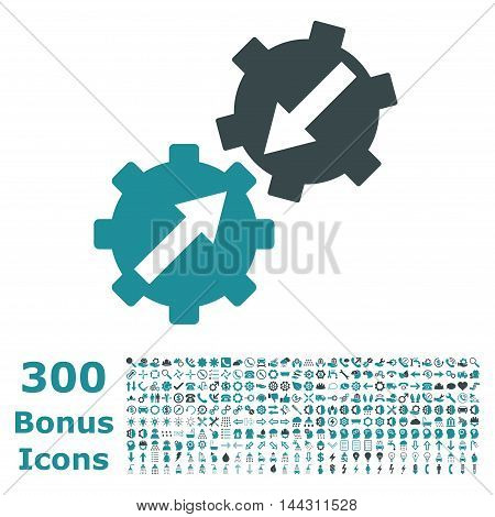 Gear Integration icon with 300 bonus icons. Vector illustration style is flat iconic bicolor symbols, soft blue colors, white background.
