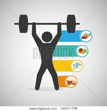 pictogram weight lifting fish vegetables drinks healthy lifestyle fitness gym bodybuilding icon set. Colorful and flat design. Vector illustration