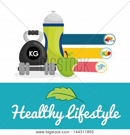 bottle weight apple food healthy lifestyle fitness gym bodybuilding icon set. Colorful and flat design. Vector illustration