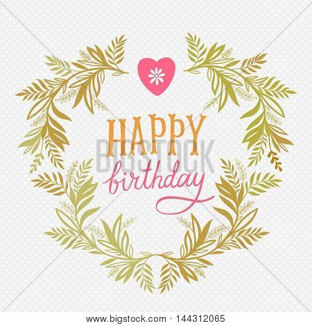 Happy birthday floral frame, greeting card, invitation background