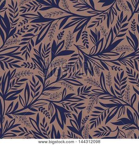 Vector seamless abstract hand-drawn pattern with plants and flowers. Hand drawn seamless floral background