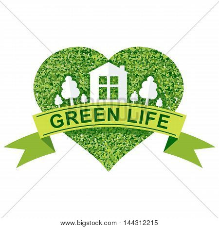 Vector ecology concept. Environmentally friendly house, green energy, eco sustainability. Objects isolated on a white background. Flat cartoon illustration.