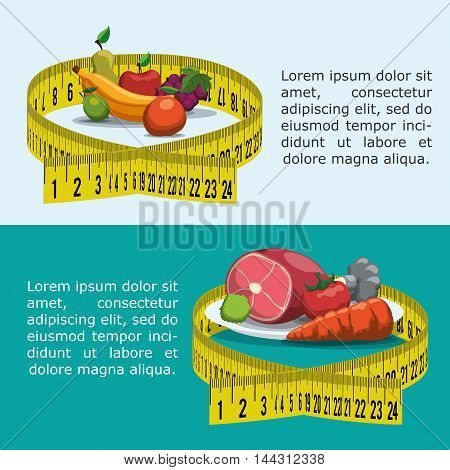 meter fruits meat carrot tomato healthy and organic food nutrition lifestyle icon set. Colorful and flat design. Vector illustration