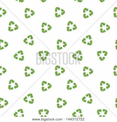 Vector eco simless pattern with recycle sign. Ecology design for background and textures. Objects isolated on a white background. Flat cartoon illustration.