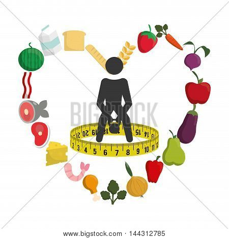 pictogram meter weight lifting heart food menu fruits vegetables protein healthy lifestyle fitness gym bodybuilding icon set. Colorful and flat design. Vector illustration