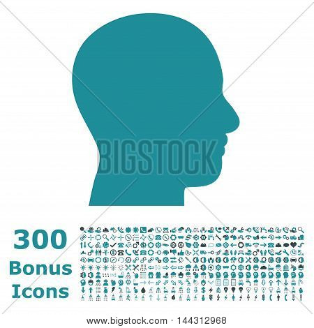 Head Profile icon with 300 bonus icons. Vector illustration style is flat iconic bicolor symbols, soft blue colors, white background.