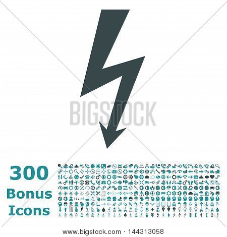 High Voltage icon with 300 bonus icons. Vector illustration style is flat iconic bicolor symbols, soft blue colors, white background.