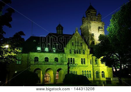 Night shot of Schloss Waldthausen in Budenheim near Mainz, Germany
