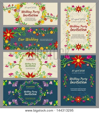 Invitation wedding cards vector mockup with flowers, floral elements and calligraphic inscriptions