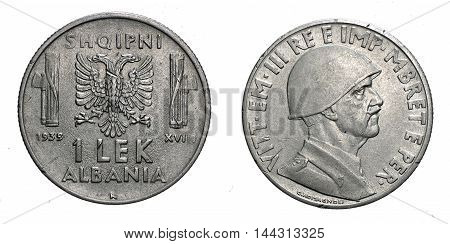 One LEK Albania acmonital Coin 1939, fascism age in Albania occupation of its territory, double head eagle on back and helmed Vittorio Emanuele III Kingdom of Italy on front, Mint of rome, during the great second world war