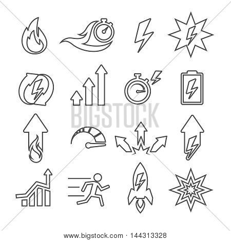 Performance line vector icons set. Time speed energy, clock fire, fast timer, alarm signs illustration