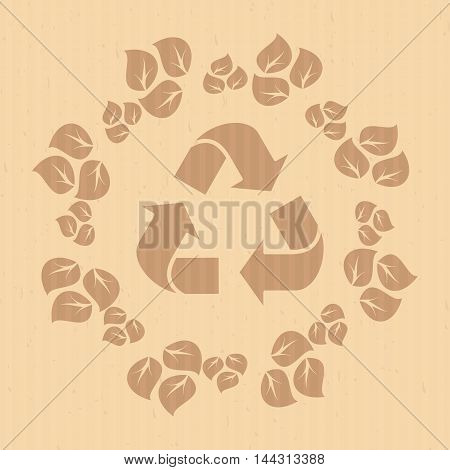 Vector recycle logo on paper craft texture. Elements for sites, advertising brochures, flayers, posters and info graphics. Flat cartoon vector illustration. Objects isolated on a white background.