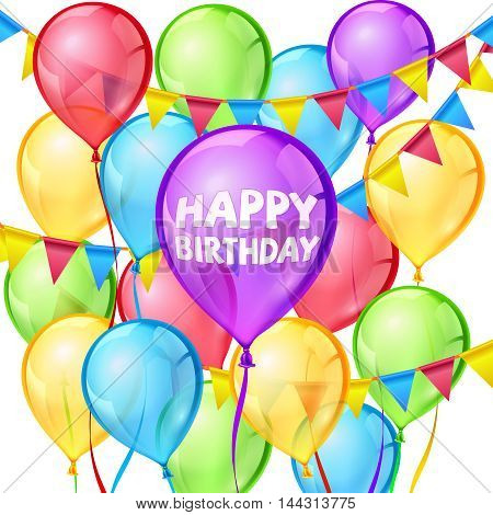 Happy birthday party vector greeting card with colorful balloons and ribbon decoration illustration on white background