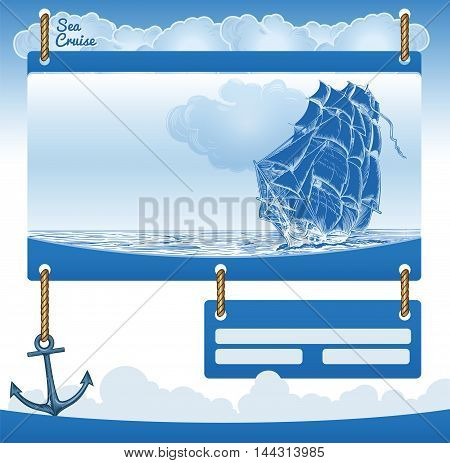Vector Sea Cruise Background with Old Sail ship