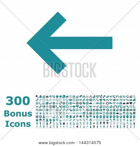 Left Arrow icon with 300 bonus icons. Vector illustration style is flat iconic bicolor symbols, soft blue colors, white background.