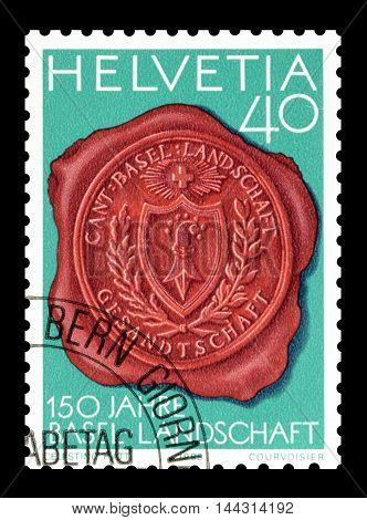 SWITZERLAND - CIRCA 1983 : Cancelled postage stamp printed by Switzerland, that shows Seal with Canton Basel coat of arms.