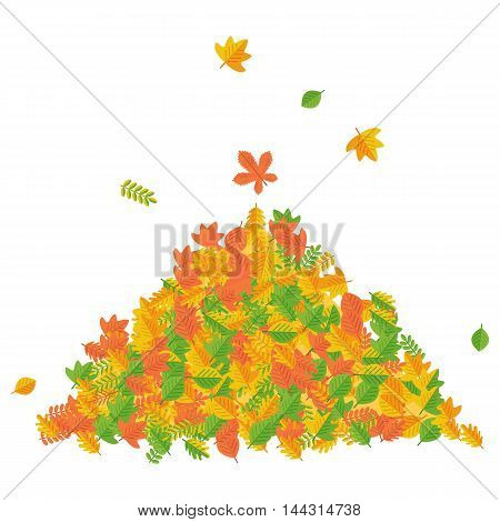 Vector pile of autumn leaves. Raking autumn leaves. Season fall. Harvest time. Elements for sites, posters, info graphics. Flat cartoon illustration. Objects isolated on a white background.