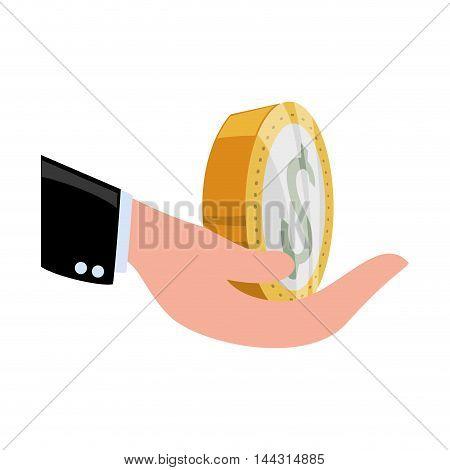 hand coin money financial item commerce market icon. Flat and Isolated design. Vector illustration