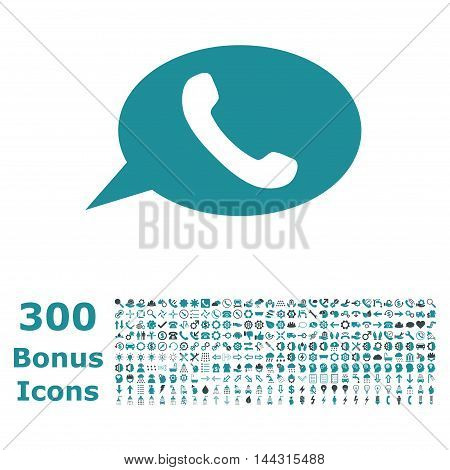 Phone Message icon with 300 bonus icons. Vector illustration style is flat iconic bicolor symbols, soft blue colors, white background.