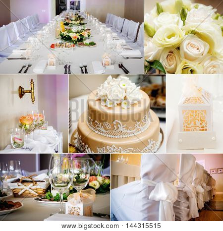 Wedding collage wedding table set for dining