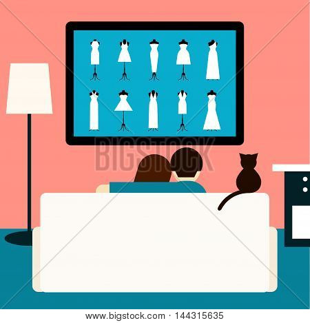 Couple and cat watching the wedding movie on television. Trendy flat style room interior. Couple and cat sitting on couch in room with tv. Rest hobby and laisure theme. Family and television.