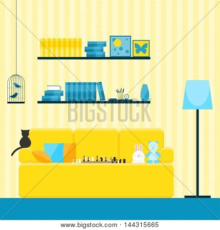 Childish yellow room interior for use in design