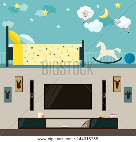 Children and guest room interior. Flat style cartoon interior for use in design for card invitation poster banner placard or billboard cover.