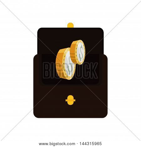 wallet coins money financial item commerce market icon. Flat and Isolated design. Vector illustration