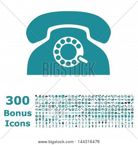 Pulse Phone icon with 300 bonus icons. Vector illustration style is flat iconic bicolor symbols, soft blue colors, white background.