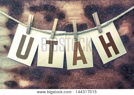 Utah Concept Pinned Stamped Cards On Twine Theme