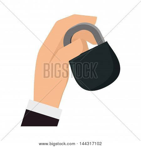 black padlock hand insurance security system icon. Flat and Isolated design. Vector illustration
