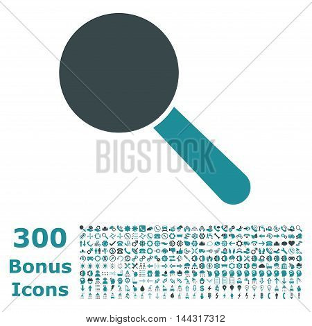 Search Tool icon with 300 bonus icons. Vector illustration style is flat iconic bicolor symbols, soft blue colors, white background.
