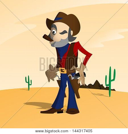 Cowboy in the wild west getting ready to shoot